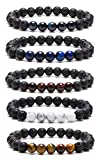 Bivei Natural Lava Rock Stone Essential Oil Diffuser Bracelet Healing Energy Gemstone Mala Jewelry...