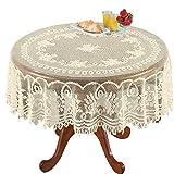 AMIPOS - Manteles de ganchillo de encaje beige lavables de poliéster jacquard mantel de mesa de...