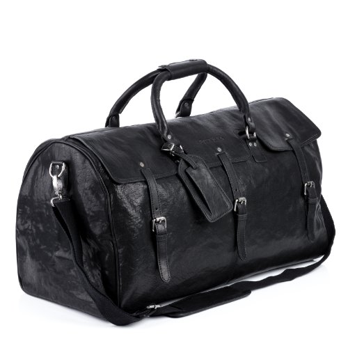 FEYNSINN® borsa da viaggio vera pelle PHOENIX grande XL borsa da weekend 58 l borsone uomo cuoio nero