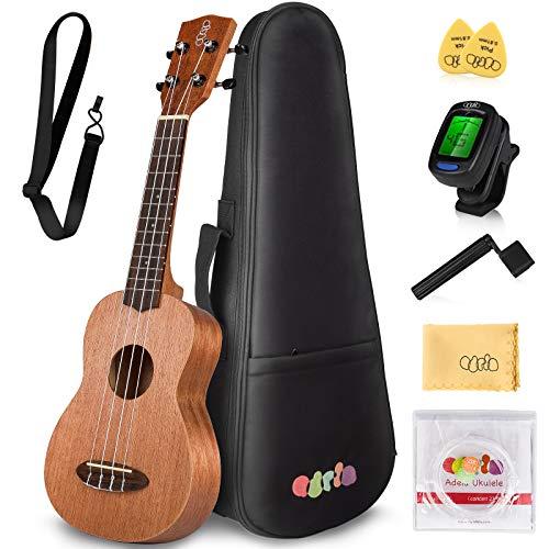 Adela Soprano Ukulele Beginner for Kid Adult Student 21 Inch Ukelele Starter Uke Hawaii Guitar with Gig Bag(01)