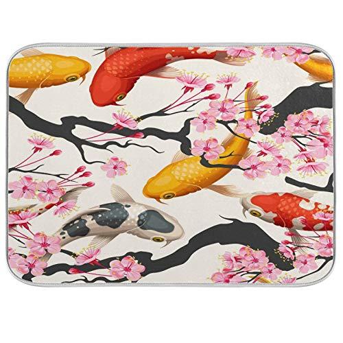 Lihuaval - Alfombrilla de secado para platos japoneses, diseño de peces koi y cerezo con aislamiento térmico absorbente para cocina, accesorios de mesa
