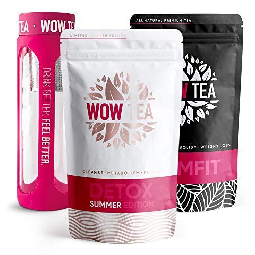 WOW TEA Cleanse Tee Set: Detox 21 Tage Tee | Fettverbrennung Abnehmen Tee | Bester Entgiftungs- und Gewichtsmanagement-Bio-Kräutertee + Infuser Teeflasche | 300g, Made in EU