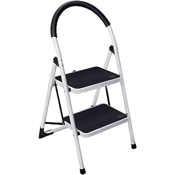 Gimify Escalera Plegable Escalerilla Antideslizante Robusto Hasta 150kg en Acero (2 peldaños): Amazon.es: Bricolaje y herramientas
