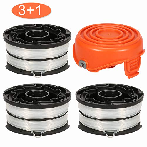 "Thten String Trimmer Spools Compatible with Black and Decker DF-065 GH710 GH700 GH750 RC-065, DF-065-BKP Weed Eater Refills Line 36ft 0.065"" Auto-Feed Dual Line Edger+ RC-065-P Spool Cover Cap"