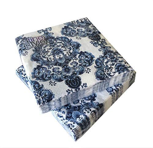 AVEVER Blue Napkins Paper   Decoupage Napkins  40cts 13x13 Decorative Paper...