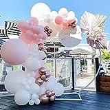 LAKE Kit Arco con Ghirlanda di Palloncini Rosa, 117 Pezzi di Palloncini con Paillettes Rosa Bianco Rosa per Baby Shower Compleanno, Festa per Ragazze, Addio al Nubilato, Decorazioni di Sfondo。