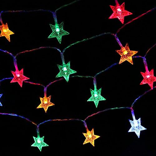 MoKo Guirnaldas Luces, Cadena de Luces 10m 100 LED Impermeable para La Decoración de Dormitorio, Fiesta, Navidad y Cumpleaños,Boda,etc.Estrella - Colorido[Clase de Eficiencia Energética A+]