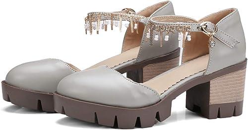 HommesGLTX Talon Aiguille Talons Hauts Sandales Nouvelle Arrivée Femmes Pompes Bout Rond Printemps été Mode Boucle Med Talons Taille 34-43 Chaussures Confortables Femme