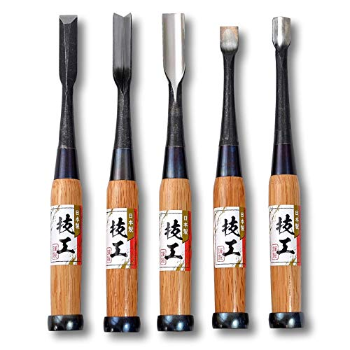 KAKURI Gouge Chisel Set 5 Pieces Japanese Curved and Bent Nomi