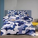 Holawakaka Jungen-Steppdecken-Set, Camouflage, gesteppt, Armee-Tagesdecke (Blau, Full)...