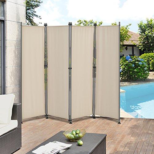 [pro.tec] Outdoor Trennwand - 170 x 215cm - Paravent Sichtschutz Spanische Wand Garten Sandfarben