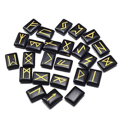 Zotoone Runensteine Set mit graviertem Älteren Futhark Alphabet Natürliche Runen Steine Kristall Meditation Wahrsagung Heilung Chakra Reiki (1 chinesischer Stil Flachs Stoffbeutel Bonus)