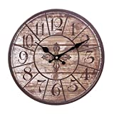 Horloge Murale Vintage, LoKauf 12 Pouces/30CM Horloge Murale En Bois Pendule Rétro Silencieux Sans Bruit Wall Clock Home Decor