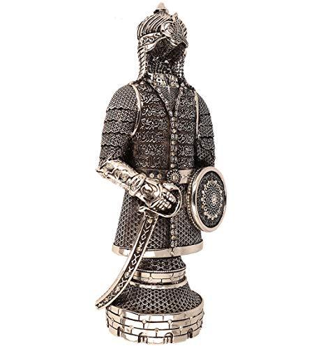 Ilm Verlag Islamische Heimdekoration, Osmanische Rüstung mit der Siegessure, Surah al Fath in Silber, Dekoartikel,Tischdeko,Decor, (27 cm)