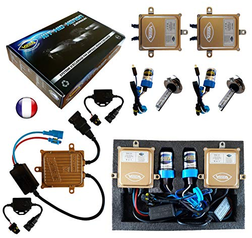 Kit HID Xénon Marque FRANCAISE Vega® H7 6000K 55W Canbus anti erreur ODB 2 ampoules à embase métallique