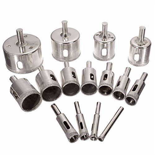 Diamante punte 15pezzi 6–50mm diamante rivestito nucleo sega Hollow Core drill bit estrattore rimozione utensili per il taglio del vetro piastrelle di ceramica marmo porcellana
