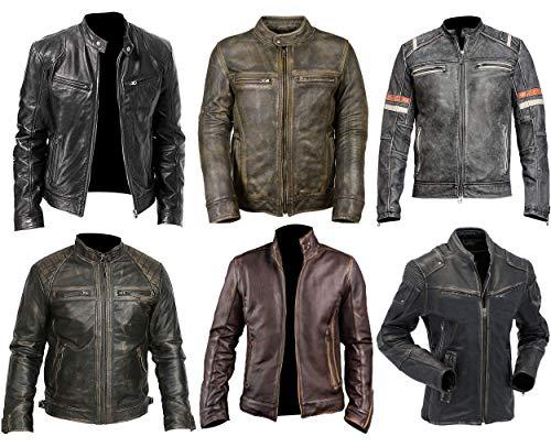 Cafe Racer Jacke Vintage Motorrad Retro Moto Distressed Lederjacke Gr. M, Cafe Racer Jacke im Antik-Look, Schwarz