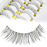 Adecco LLC 50 Pairs Natural Look Taiwan Handmade Fake False Eyelashes Eye Lashes Transparent Stem Classical Eyelashes (50 Pairs)