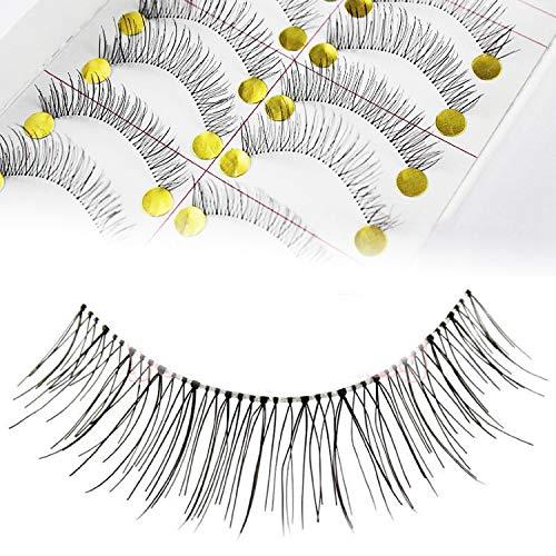 Adecco LLC 50 Pairs Natural Look Taiwan Handmade Fake False Eyelashes Eye Lashes Transparent Stem Classical Eyelashes