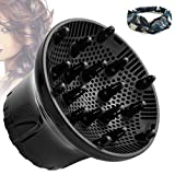 Hair Diffuser, Universal Hair Dryer Diffuser For Curly Hair and Natural Hair,Professional Hair Diffuser Attachment Fits 99.9% Blow Dryer Nozzle 1.5'- 2.67' to Minimizes Frizz Volume (Black)