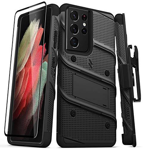 ZIZO Bolt Series Schutzhülle für Galaxy S21 Ultra, mit Bildschirmschutzfolie, Ständer, Trageband, Schwarz