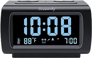 "DreamSky Decent Alarm Clock Radio with FM Radio, USB Port for Charging, 1.2"" Blue Digit Display with Dimmer, Temperature Display, Snooze, Adjustable Alarm Volume, Sleep Timer."