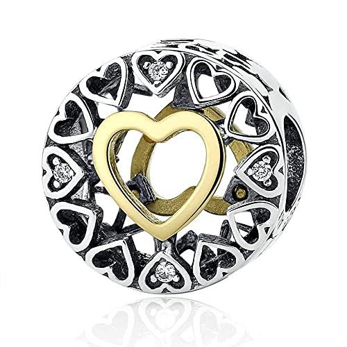 2021 Navidad amorosa círculo granos se adapta a pulseras Pandora encantos 14K oro placa granos para la fabricación de joyería original 925 joyería de plata esterlina