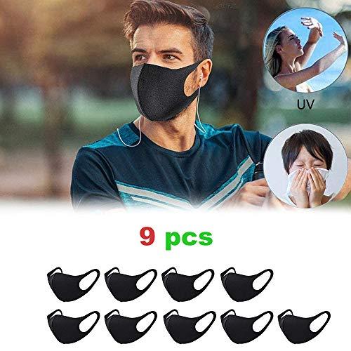 9 Stück Mundschutz Maske, Staub Gesichtsmaske, Fashion Unisex Face Masks, Wiederverwendbare und waschbare Maske zum Laufen (schwarz)