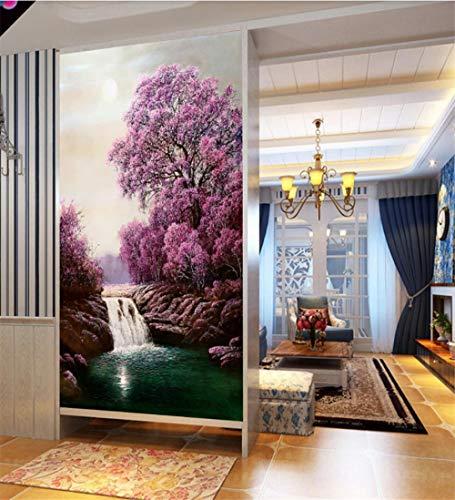 WFYY Adhesivo Puerta Paisaje Romántico De La Cascada De Los Cerezos En Flor Vinilos Decorativos para Puerta Pared Papel Pintado Puerta 77x200Cm