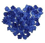 Youkara Lot de 1000pétales de rose en tissu - Soie - Décoration de fête, mariage - Confettis de table, Tissu en soie., bleu marine, 5*5cm