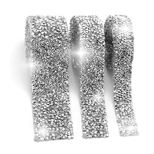 Crystal Rhinestone Ribbon 3 Yards Diamond Rhinestone Bling Ribbons Roll Banding Belt Wrap, Diamond Sparkling Bling Ribbons Roll for Wedding Cakes Birthday Crafts Decorations, 3 Rolls 3 Sizes (Clear)