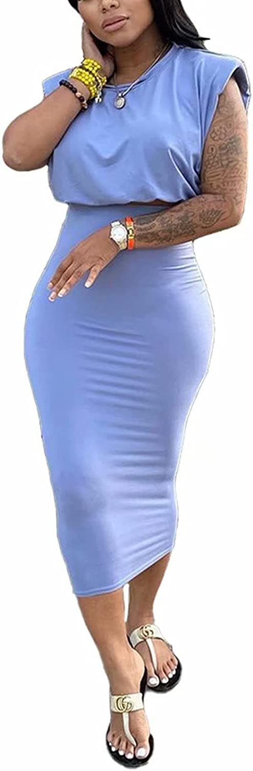 Women's Two Piece Midi Dress Sexy Solid Color Sleevelss Crew Neck Tank Crop Tops Bodycon Skirts Set