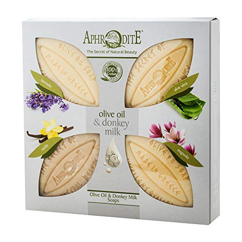 Juego de 4 jabones de aceite de oliva y leche de burra APHRODITE. Jabón natural con leche de burra y aromas únicos para una piel bien arreglada (340g)
