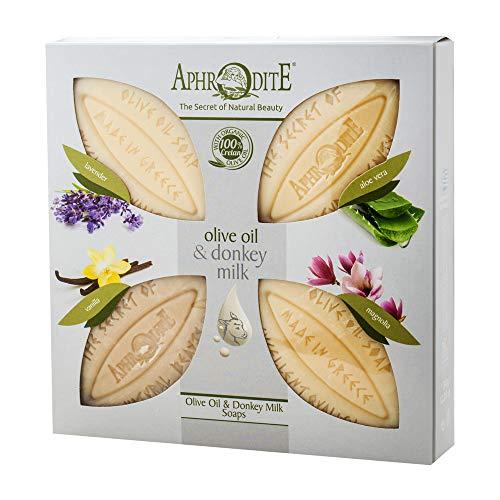 Aphrodite 4-teiliges Olivenöl & Eselsmilch Seifen-Set. Natürliche Seife mit Eselsmilch und einzigartigen Düften für gepflegte Haut (340g / 11,50 oz)