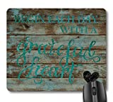 7AN.M Begin Each Day with a Grateful Heart Motivational Quote Mouse Pad, Inspirational Quotes on Rustic Barn Wood Mouse Pads Vintage Teal Mat