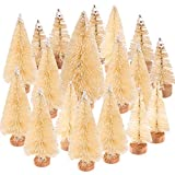 Yiphates 14 Pcs Mini Christmas Tree Bottle Brush Christmas Trees Artificial Sisal Tabletop Sisal with Wood Base for Christmas Party Home Decoration(5 Sizes, White)