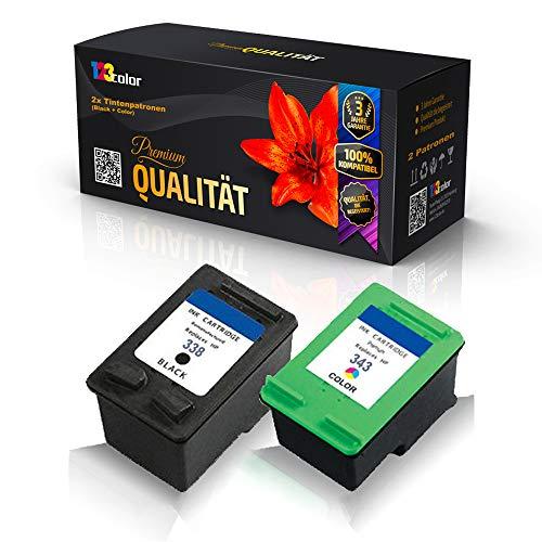 123Color Juego de cartuchos de tinta alternativos compatibles con HP 338 + 344 DeskJet 460 460C 460CB 460WBT 460WF 5740 5745 6520 6540 6540D 6540DT 6620 C8765EE C9363EE