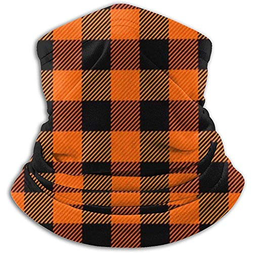 Hey Judey Holzfäller Plaid Scottish Orange Schwarz Buffalo Fleece Nackenwärmer Heat Trapping Neck Gaiter Tube Weiche, Elastische Halbmaske Winddichter Ski-Nacken