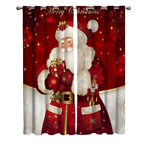 wanxinfu 2 Panel Kitchen Cafe Curtains, Christmas Santa Claus Gifts Red | Sunlight Filtering Nature Air Through, Home Decor Window Covering Tier Curtains for Bedroom Living Room 55W x 39L inch