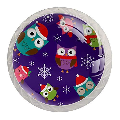 Perillas de gabinete de cocina Perillas decorativas redondas Gabinete Cajones de armario Tirador de tocador 4PCS Búhos con sombrero de Navidad Patrón de copo de nieve