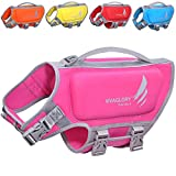 VIVAGLORY Skin-Friendly Dog Life Vest, Neoprene Life Jacket for Dogs with Superior Buoyancy and Rescue Handle, Adjustable & Reflective, Pink, Small