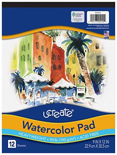 UCreate Watercolor Pad, 90 lb, 9' x 12', 12 Sheets