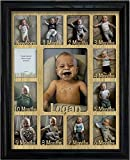 """Northland Baby First Year Personalized Frame - Holds Twelve 2.5"""" x 3.5"""" Newborn Nursery Decor Photos and 5"""" x 7"""" One Year Picture, Black Frame, Oak Mat, Customizable with Any Name"""