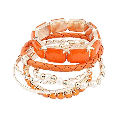 Sanwood Bohemia Multi Layer Armkette Perlen Armband Armschmuck Armreif Schmuck (Orange)
