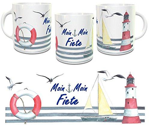 Kinderlampenland Namens-Tasse Moin Moin personalisiertes Geschenk Kaffeebecher Maritim Segelschiff Leuchtturm