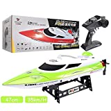 URVP Fast Remote Control Boat Adults speedboat 35km/H Rc ship Low Battery & Range Signal Auto Flip Recovery 2.4 GHz Radio Controlled ship Fastest Racing Pool Boat Speed vessel Gift Toy