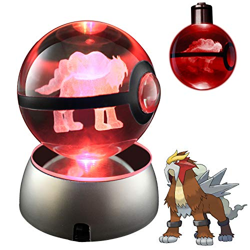 COOLINKO 3D Crystal Ball LED Night Light with LED Keychain Laser Engraving (Entei)