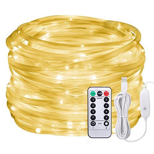 LED Lichtschlauch als Weihnachtsdeko-Afufu 13M 100er Lichterschlauch Warmweiß-Lichterkette Innen und Außen-Lichterkette USB-3M Stromkabel-Wasserdicht IP65-8 Modi Fernbedienbar Weihnachtsbeleuchtung