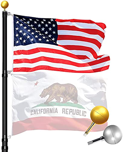 WinisKi Flag Pole 30ft Telescoping Black Extra Thick - Outdoor Heavy Duty Inground Adjustable Height Aluminum Telescopic Flagpole Kit, Golden&Silver Balls Top, 1 USA Flag, Residential Commercial Pole