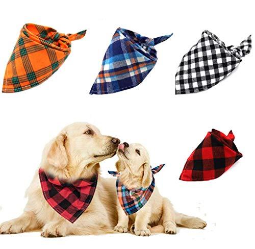 Afufu Gepersonaliseerde Hond Bandana, Hond Sjaal 4 Stks Plaid Triangle Bibs Halsdoek, Hond Bandanen voor Kleine Medium Grote Honden Katten